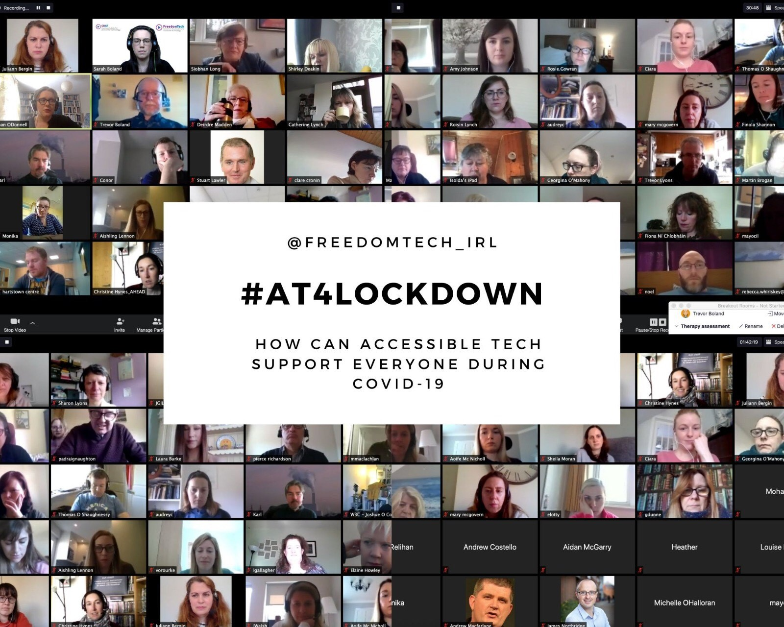 composit screenshot of zoom meeting. thumbnail shots of people at their webcams. Text in centre says: @freedomtech_irl #AT4Lockdown How can Accessible Technology Support people during the Covid-19 crisis